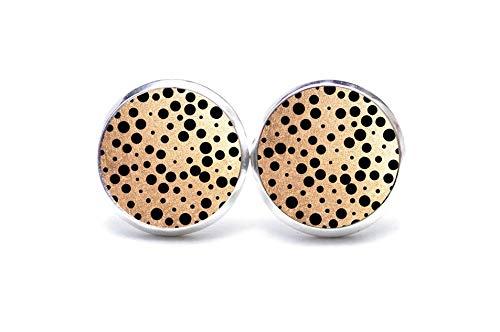 Ohrstecker Ohrhänger Ohrringe Kette Gold mit schwarzen Punkten Big Gatsby - Größe wählbar