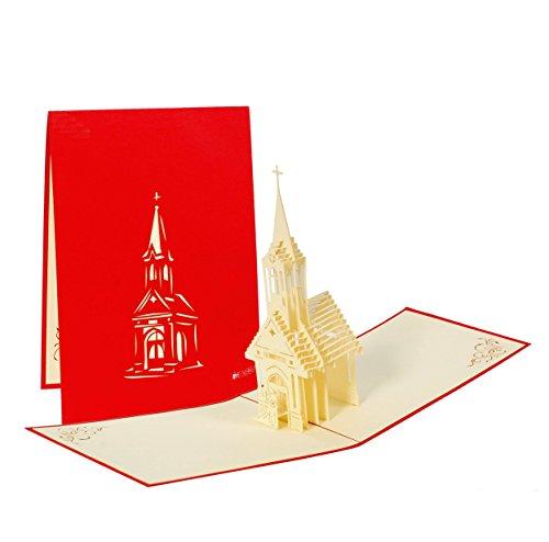 Hochzeitskarte mit kleiner Kapelle, Karte zur Hochzeit. Kirchliche Trauung Geschenke, edel, originell, elegant, Pop-Up Karte - Katholische Hochzeit Geschenke