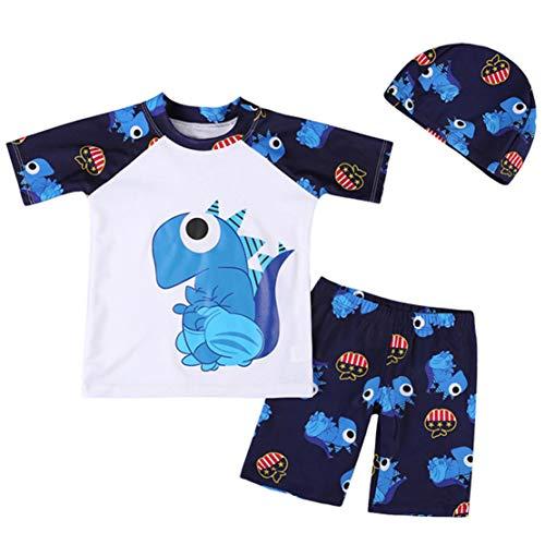 d Kids Boy Dinosaurier gedruckt Badeanzug Badeanzug Kleidung Set (Weiß, 12-18 Months-M) ()