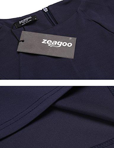 Zeagoo Robe Vintage Années 1950 's Swing Sans Manches Robe de Soirée Cocktaile Col V Bleu Marine
