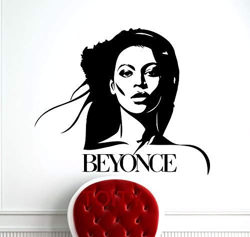 hllhpc Beyonce Wandaufkleber Promi Popstar Musik Vinyl Aufkleber Retro Kunst Decor Bar Studio Club Restaurant Home Interior Zimmer 58 * 69 cm