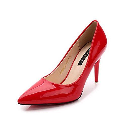 AalarDom Damen Weiches Material Hoher Absatz Spitz Zehe Ziehen Auf Pumps Schuhe Rot-Lackleder
