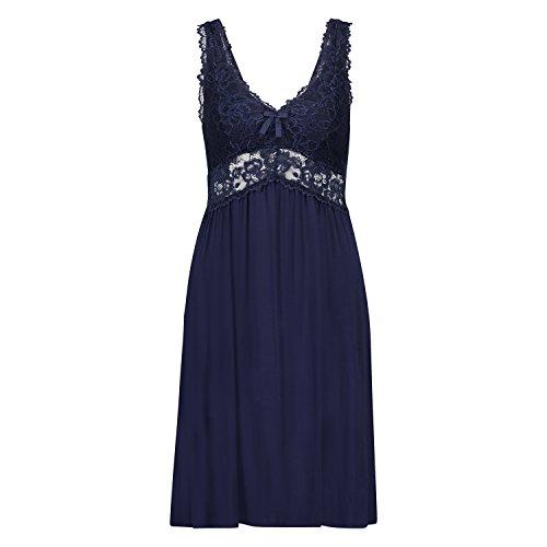 Hunkemöller Damen Slipdress Modal Lace 119887 Blau XL