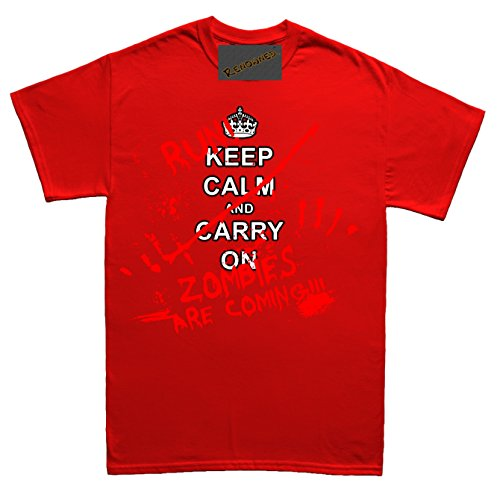 Renowned Keep calm and RUN ZOMBIES ARE COMING Herren T Shirt Rot