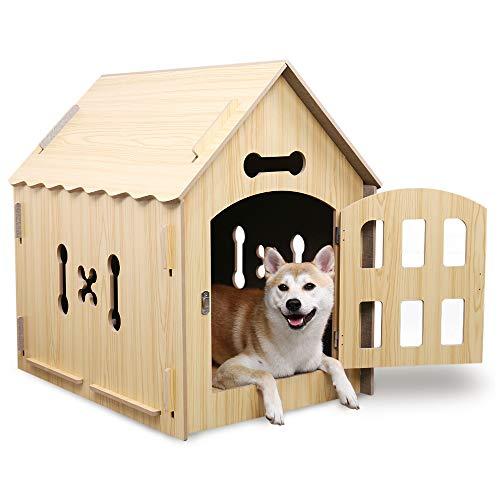 PAWZ Road Hundhütte aus Holz Hundehaus Katzenhaus Kuschelhöhle für Katzen Hunde Welpen Kätzchen Kaninchen oder Kleintier Spitzdach - W Hundehütten