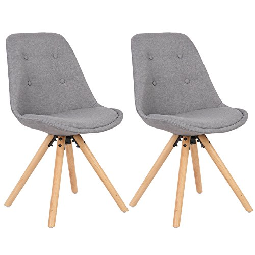 WOLTU® BH54gr-2 Set of 2 Upholstered Dining Chair Modern Linen Lounge Chair Kitchen Chair with Wooden Legs, Grey