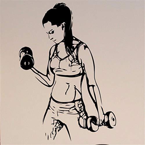 Pbldb Fitnessstudio Wandtattoo Sportlich Mädchen Vinyl Aufkleber Bodybuilding Wohnkultur Ideen Innen Cool Art Mural42X56 Cm