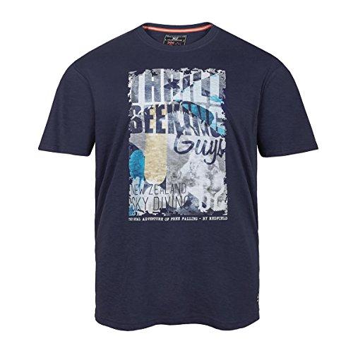 XXL Redfield dunkelblaues T-Shirt mit Frontdruck Blau