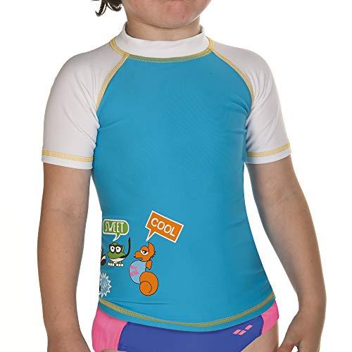53eb96ba0aa5 arena 000438_2-3 Camiseta de Manga Corta con protección Solar, Unisex  niños, Turquoise/Blanco, 2-3