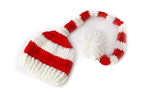 Christmas berretto uncinetto, foto puntelli, fits 0 – 3 mesi baby ragazzi e ragazze multicolore multi-colored stripe hat