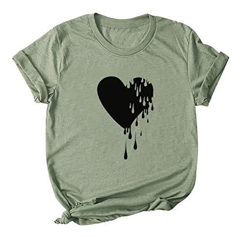 AG&T Couple Shirt Love Tee Shirt pour Femme Homme Amoureux Tshirt Coton Tops Hauts Manches Courtes Saint-Valentin Cadeau Anniversaire