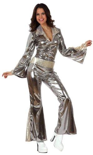 Atosa 10441 - Verkleidung Disco grau-silber Damen, Größe 34-36 (Disco Dancing Queen Kostüm)