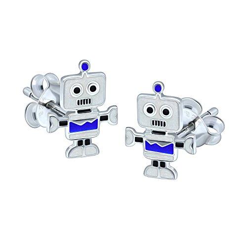 Blau & Grau Roboter Ohrringe-Sterling Silber