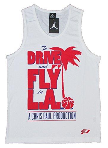 Air Jordan Mens Drive e Fly in camicia estiva Summertime CP3 (2X-Large, bianco)