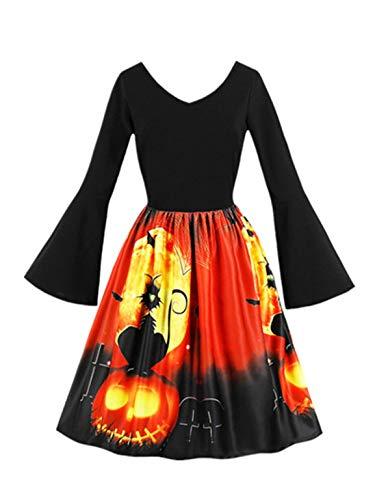 Moonuy Damen Langarm Kleid Damen Party Kleid 2018 Schlank Vintage Kürbisse Halloween Abend Prom Kostüm Swing - Paper Doll Kostüm