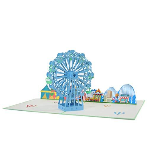 Favour Pop Up Glückwunschkarte. Ein filigranes Kunstwerk, das sich beim Öffnen als Riesenrad auf einem Jahrmarkt entfaltet. TB017 -