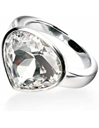 Elements: Ring with Large Excellent Crystal Design Stone in Sterling Silver