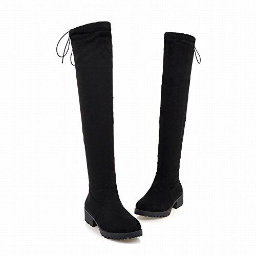 Mee Shoes Damen chunky heels Reißverschluss langschaft Stiefel Schwarz