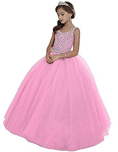 Huifany Mädchen Ballon Kleid Gr. Benutzerdefinierte, rose