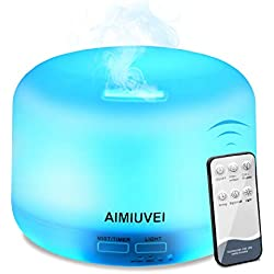 Humidificador Aromaterapia Ultrasónico con Control Remoto, AIMIUVEI Difusor de Aceites Esenciales 300ml,Difusor Aroma de Vapor Frío con 7 Colores de LED y 2 Opciones de Niebla para Bebé Yoga Oficina