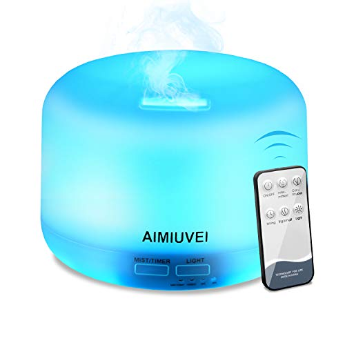 Ultrasonic Aromatherapy Humidifier with Remote Control, AIMIUVEI Essential Oil Diffuser 300ml, Aroma Cold Steam Diffuser with 7 LED Colors and 2 Fog Options for Baby Yoga Office