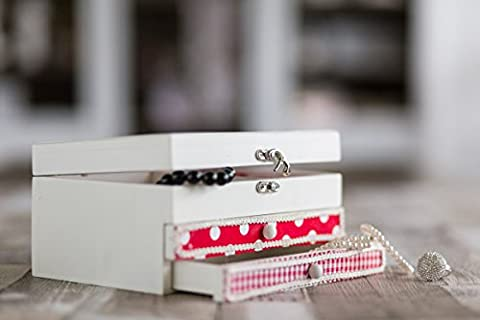 Rouge et blanc en bois dur Boîte à bijoux