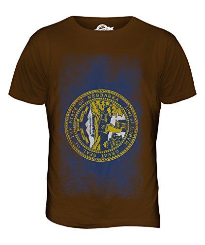 CandyMix Bundesstaat Nebraska Verblichen Flagge Herren T Shirt Braun