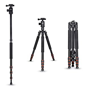 Rollei Allrounder Aluminium tripod Black with ball head - compatible with DSLR & DSLM cameras - incl. monopod, Acra Swiss quick release plate & tripod bag