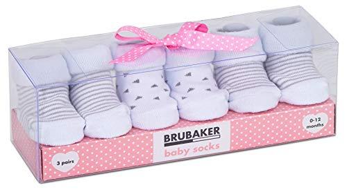 Brubaker 3 Paar Babysocken Mädchen Jungen 0-12 Monate - Streifen und Dreiecke