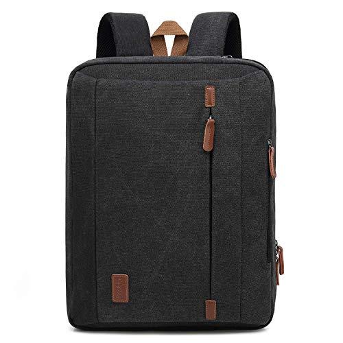 CoolBell 17,3 Zoll umwandelbar Laptop Tasche/Rucksack Messenger Bag Canvas Umhängetasche Business Backpack Arbeitastasche Mehrzweck Aktentasche Notebooktasche für Laptop/MacBook/Herren(Schwarz) Messenger-laptop-tasche