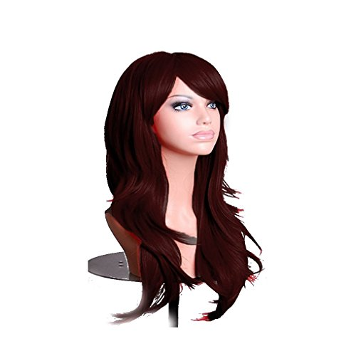 rauen Mädchen 70cm lockige Perücken Cosplay Anime-Partei-Haar-wellenförmige lange Haarteil Perücke synthetischem Haar Dunkelrot (Niedlichen Anime Kostüme Für Halloween)