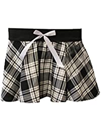 Girls Black & White Tartan Schoolgirl Skirt with Bow 5-10
