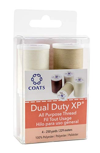 Coats - Polyester tout usage Mélange Double Duty XP filetage 250yd spools-dark Marron, perle, naturel et marron