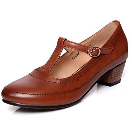 Frau Mary Janes Schuhe Retro Leder high Heels Arbeiten Schnalle Gurt Pumpen quadratische Ferse Schuhe