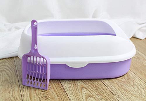 GTRAS Katzentoilette mit Deckel, um das Verspritzen von halbgeschlossener Katzentoilette zu verhindern,Purple - Pfanne, Gerippte