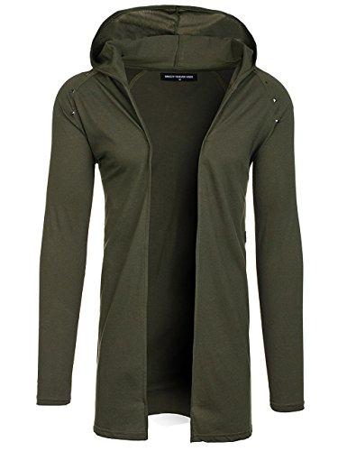 BOLF Herren Sweatshirt mit Kapuze Langarmshirt Hoodie Pulli Lang Modern 1A1 Motiv Grün