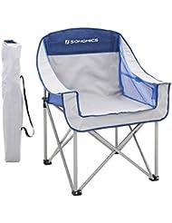 SONGMICS Silla de Camping Plegable, con Asiento Amplio y Confortable, Resistente, MAX.