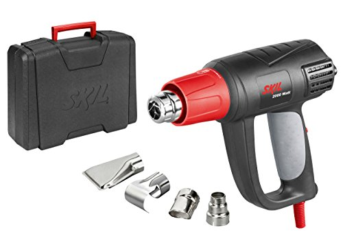 Skil 8004AA - Pistola de aire caliente/decapador con temperatura regulable variable (2000 W, LCD, 4 boquillas, maletín)