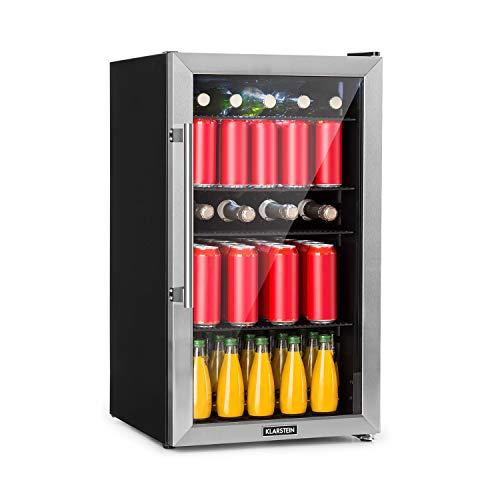 Klarstein Beersafe 3XL Kühlschrank - Getränkekühlschrank, 98 Liter, Energieeffizienzklasse A+, 83 cm Höhe, 4 Einlegeböden, 7 Temperatur-Stufen: 0-10 °C, Glastür, freistehend, Edelstahlfront