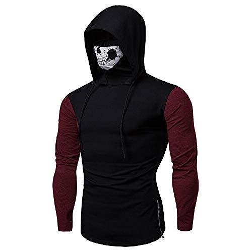 Internet—Suéter de Manga Larga con Capucha de Costura para Hombres, Sudadera con Capucha, Camiseta Ajustada de Manga Larga, máscara de Calavera(Negro M—3XL)