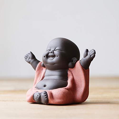 Keramik-Figur, Kleiner süßer Buddha, Mönch-Figur, kreatives Babypasteln, Ornamente Geschenk, chinesische zarte Keramik Kunst und Handwerk