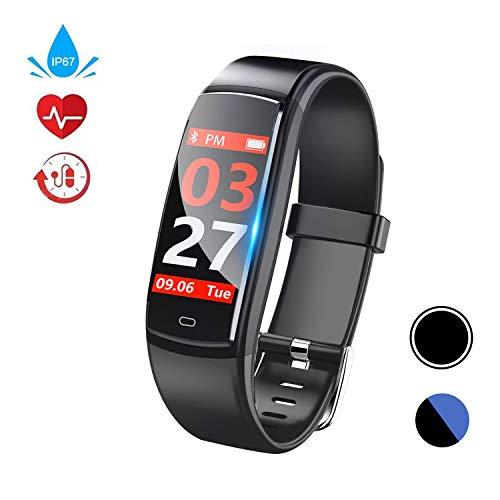 Fitness Armband, Fitness Tracker mit Pulsmesser, Aktivit?tstracker, Herzfrequenzmonitor, Farbbildschirm Bluetooth Smart Armbanduhr Schrittz?hler, Smart Watch IP67 Wasserdicht SchlafMonitor (Y9-Black)