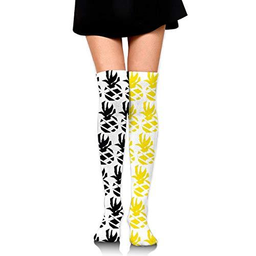 dfegyfr Black and Yellow Pineapple Women's Knee High Socks Classic Compression Stockings for Running Sports Soccer Socks Stocking for Women