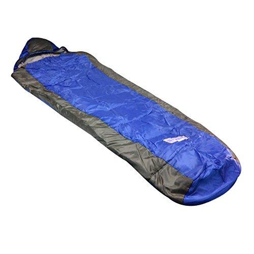 Leichter Schlafsack für Trekking Angeln und Camping 220 x 80 / 55 cm - Mumienschlafsack in Blau mit Grau (Lite Mumienschlafsack Lange)