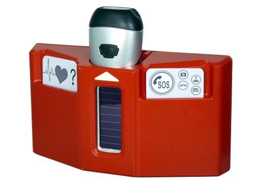 Husky PowerPlus Dynamo Lampe torche d'urgence station, acier, rouge