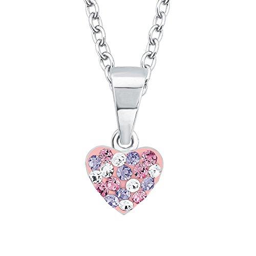 """Prinzessin Lillifee Mädchen-Halskette mit Anhänger \""""Herz\"""" 925 Sterling-Silber,  Kristalle in rosa und lila"""