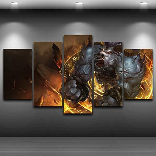 (Wandkunst gerahmt künstlerische Bilder gedruckt 5 Panel Monster Print Zeichnung auf Leinwand HD gedruckt Home Decor)