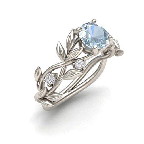 Ringe Für Damen Ring Damen Der Herr Der Ringe DAY.LIN Frauen Silber Floral Transparent Diamant Blume Weinblatt Ringe Hochzeitsgeschenk (US-Größe 6) (Marco Unterwäsche)