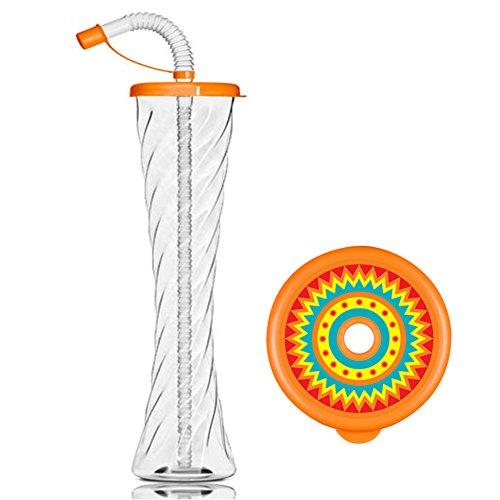 FIESTA BECHERN Party Plastik Kelchglas für Slush Eis Limonade Säfte Kühle Getränke 350ml 12oz (Oranger Deckel, 4 Kästen - 216 Bechern) (Fiesta Getränk)