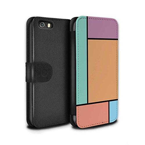 Stuff4 Coque/Etui/Housse Cuir PU Case/Cover pour Apple iPhone 5/5S / 5 Carreaux/Rouge Design / Carreaux Pastel Collection 5 Carreaux/Orange